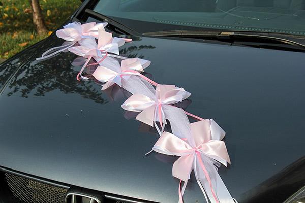 Лента на машину Фантазия (1 луч) (розовый/белый)