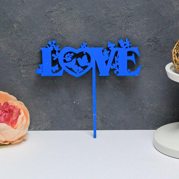 Топпер для торта Love (синий)