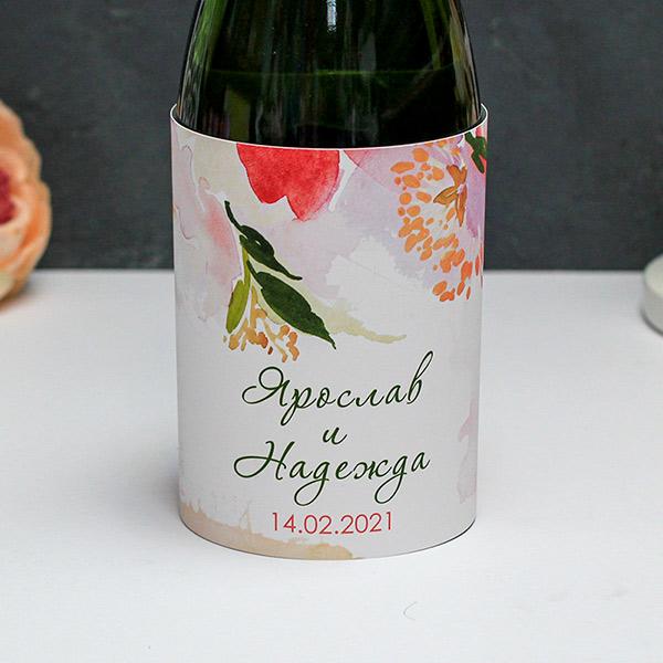 """Тубус на бутылку """"Акварельные цветы"""" (1 шт, именной)"""