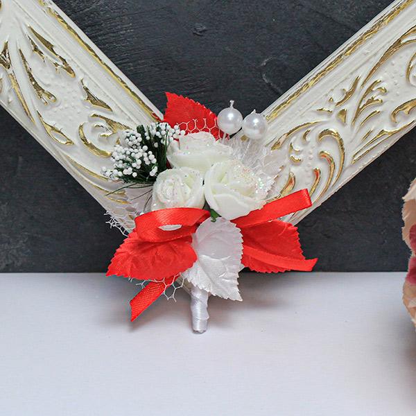 Бутоньерка для жениха Макс (бело-красный)