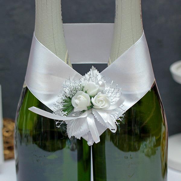 Украшение для шампанского Букетик (белый)