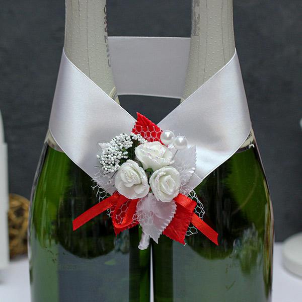 Украшение для шампанского Букетик (бело-красный)