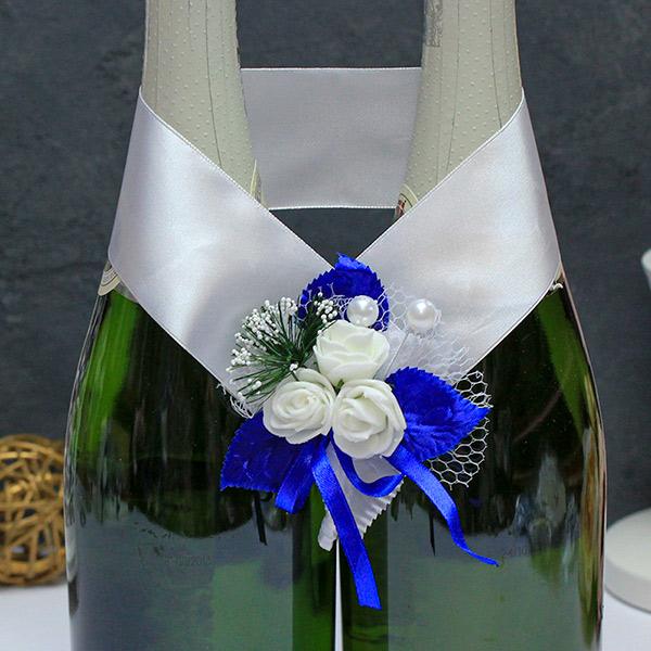 Украшение для шампанского Букетик (синий)