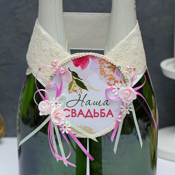 """Украшение для шампанского """"Акварельные цветы"""""""