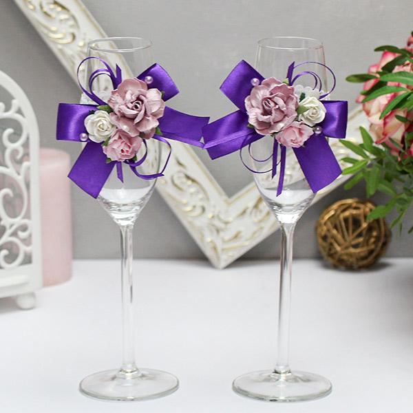 Свадебное украшение для бокалов Таинственный сад (2 шт) (фиолетовый)