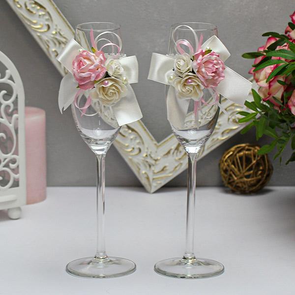 Свадебное украшение для бокалов Таинственный сад (2 шт) (айвори)