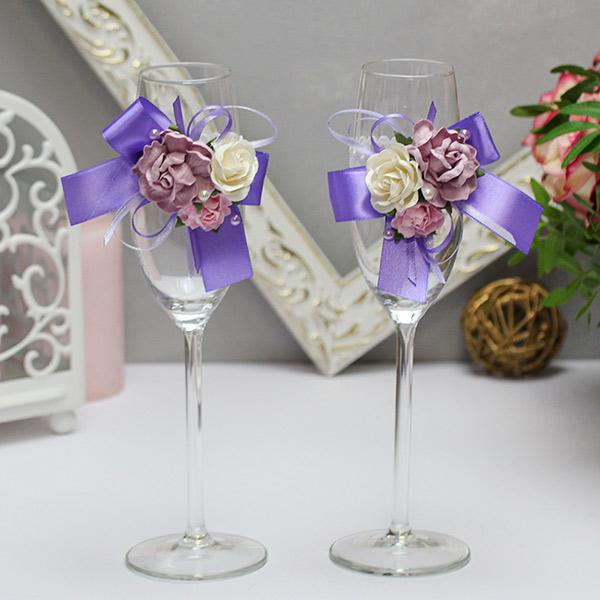 Свадебное украшение для бокалов Таинственный сад (2 шт) (сиреневый)