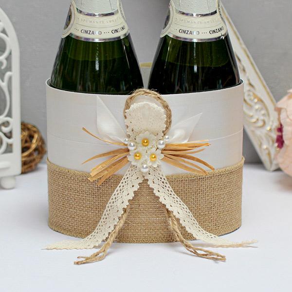 """Декор для шампанского """"Полевые цветы"""" (белый)"""