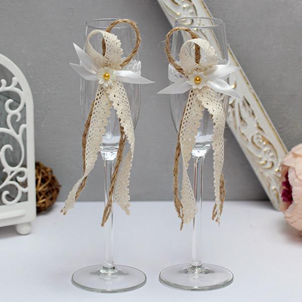 """Свадебное украшение на бокалы """"Полевые цветы"""" (2 шт)"""
