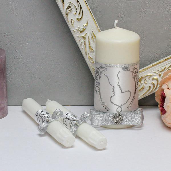 """Свадебные свечи """"Силуэт"""" (3 свечи без подсвечников) (белый/серебро)"""