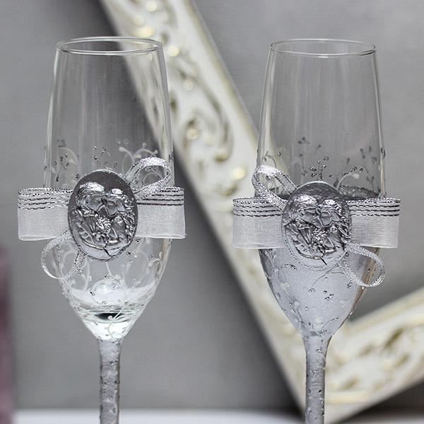 """Свадебные бокалы """"Силуэт"""" (серебро)(возможно без даты)"""