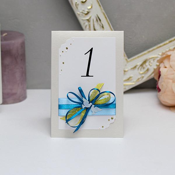 Карточка с номером стола Семейное гнездышко (голубой)