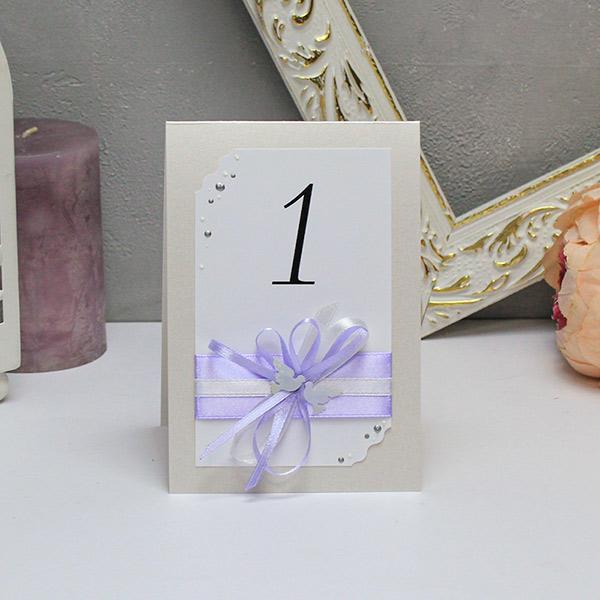 Карточка с номером стола Семейное гнездышко (сиреневый)