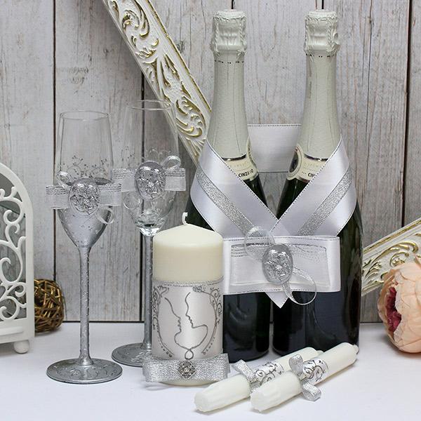 Комплект свадебных аксессуаров Силуэт (серебряный)