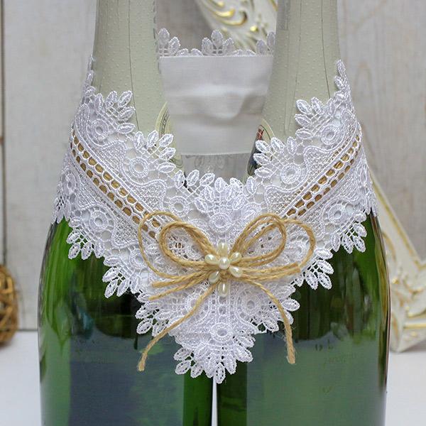 """Декоративное украшение свадебных бутылок """"Рустик"""" (белый)"""