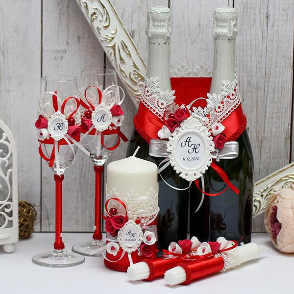 Комплект свадебных аксессуаров Летний вечер (красный)