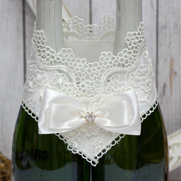 Украшение для свадебного шампанского Цветочный вальс (айвори)