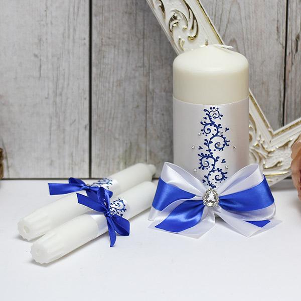 """Набор свадебных свечей """"Великолепная пара"""" (3 свечи без подсвечников) (белый/синий)"""