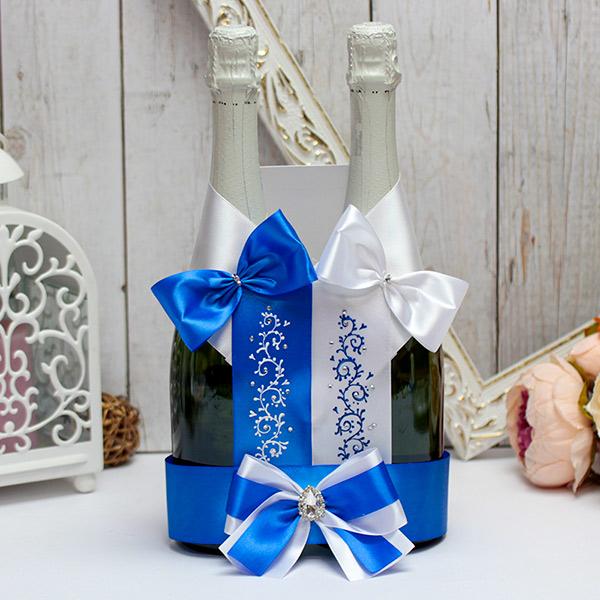 """Украшение на свадебные бутылки с росписью """"Великолепная пара"""" (белый/синий)"""