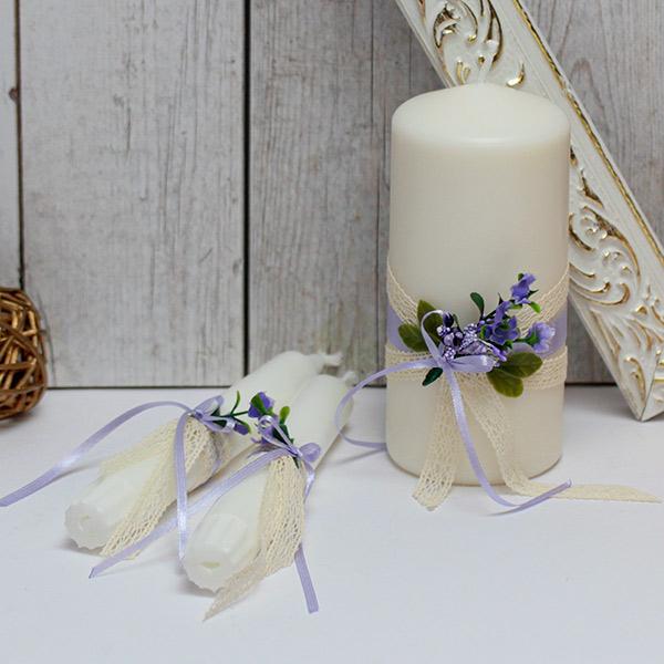 """Домашний очаг + 2 свечи на свадьбу в стиле прованс """"Любовный этюд"""" (сиреневый)"""