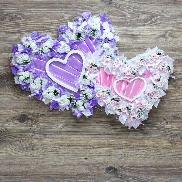 """Свадебный декор на стену """"Великолепие сердец"""" (сиреневый/розовый) (56х36 см)"""