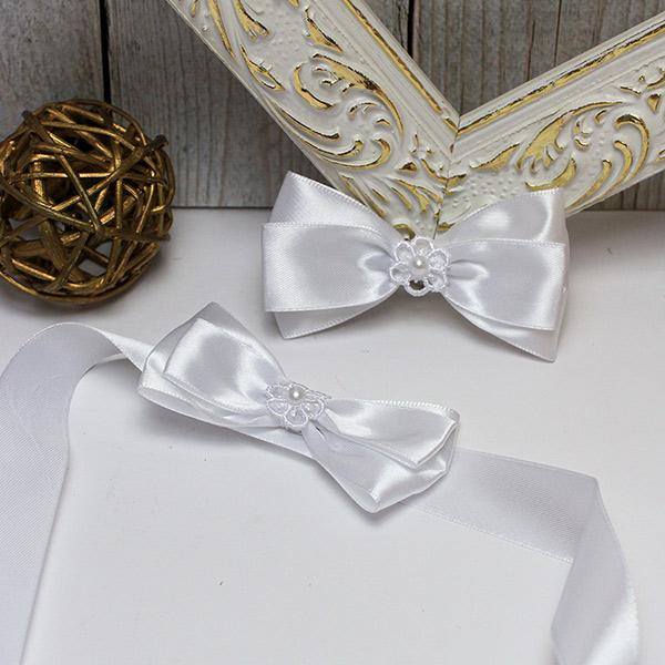 """Комплект свадебных аксессуаров для свидетелей """"Цветочный вальс"""" (белый) (2 шт)"""