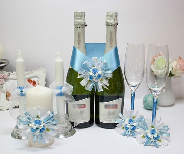 Комплект аксессуаров для свадьбы Валенсия (голубой)
