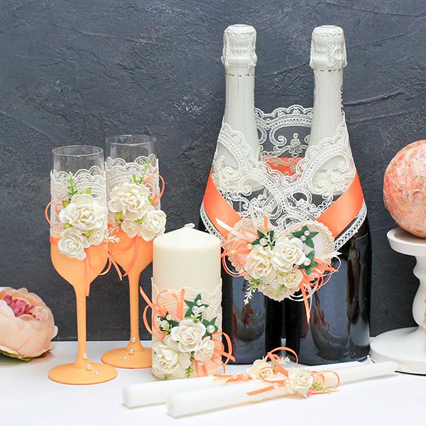 Комплект аксессуаров для свадьбы Райские цветы (оранжевый)