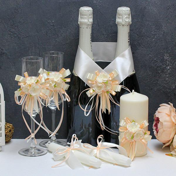 Комплект аксессуаров для свадьбы Ника (персиковый)