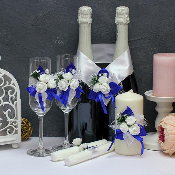 Набор свадебных аксессуаров Букетик (синий)