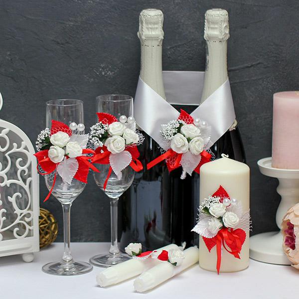 Набор свадебных аксессуаров Букетик (красный)