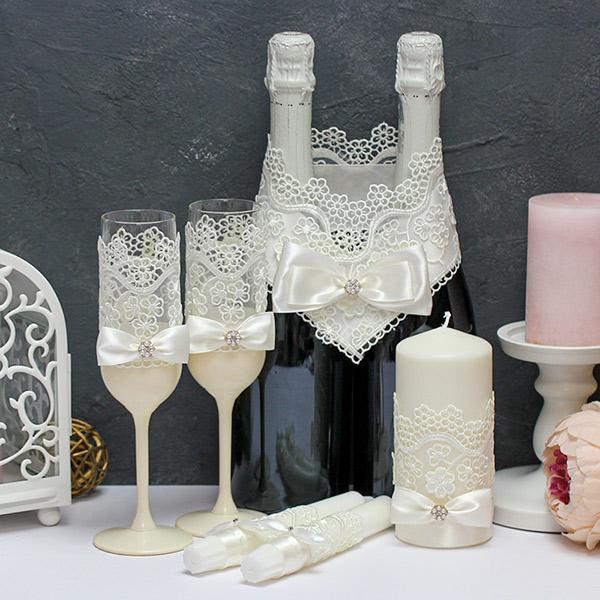 Комплект аксессуаров для свадьбы Цветочный вальс (айвори)