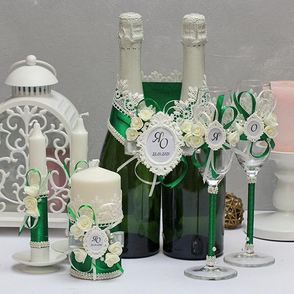 Комплект свадебных аксессуаров Летний вечер (изумрудный)