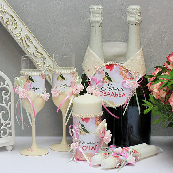Комплект аксессуаров для свадьбы Акварельные цветы (розовый)