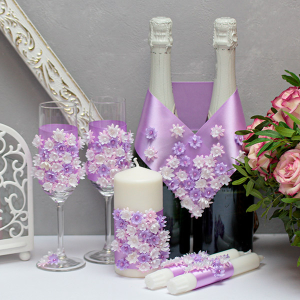 Комплект аксессуаров для свадьбы Соцветие (сиреневый)