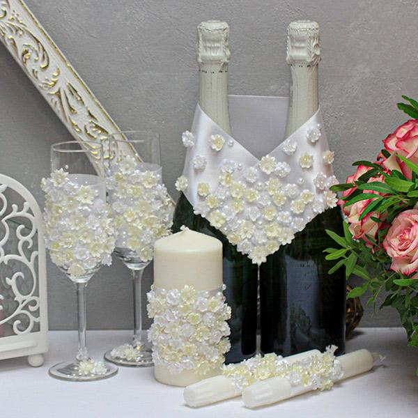 Комплект аксессуаров для свадьбы Соцветие (айвори)