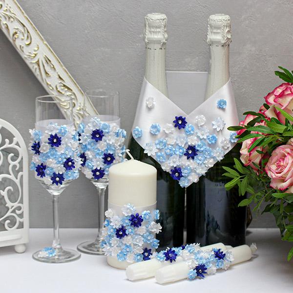 Комплект аксессуаров для свадьбы Соцветие (голубой)