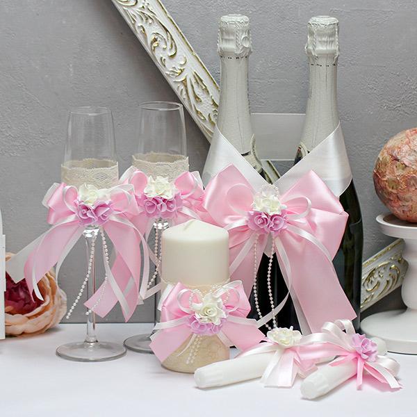 Комплект аксессуаров на свадьбу Romantic (розовый)