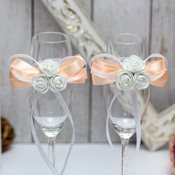 Свадебное украшение на бокалы Розанна (персиковый)