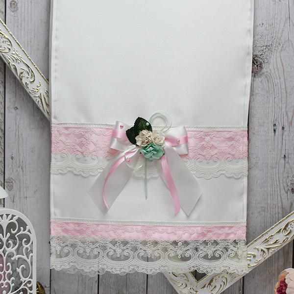 Свадебный рушник ручной работы Таинственный сад (атлас) (розовый)
