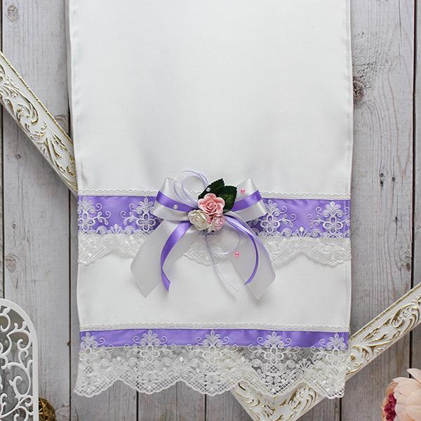 Свадебный рушник ручной работы Таинственный сад (атлас) (сиреневый)