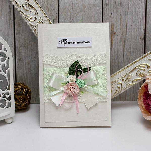 Приглашение на свадьбу ручной работы Таинственный сад (мятный)
