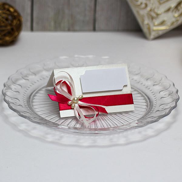 Банкетная карточка для рассадки гостей Летний вечер (малиновый)