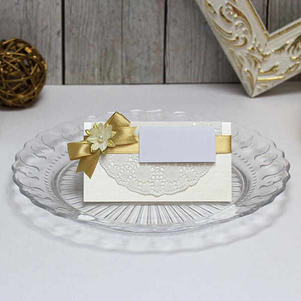 """Банкетная карточка для гостей """"Ажурная"""" (золотой) (1 шт)"""