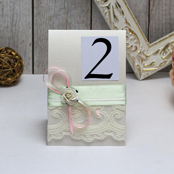 Карточка с номером стола Таинственный сад (мятный)
