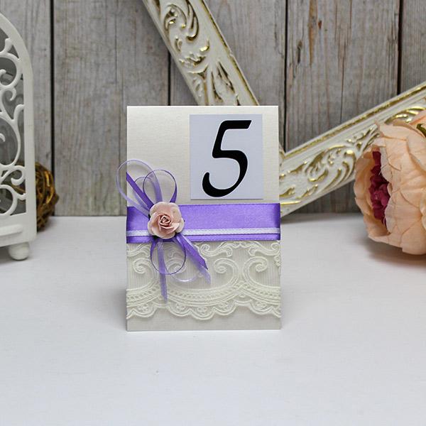 Карточка с номером стола Таинственный сад (сиреневый)
