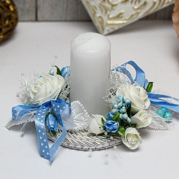 """Свадебная свеча на подставке """"Цветочная"""" (голубой)"""