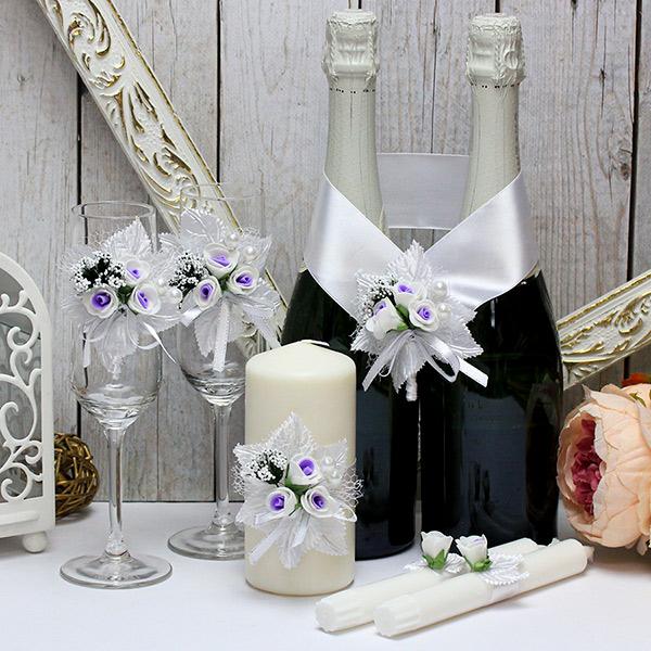 Набор свадебных аксессуаров Букетик (бело-сиреневый)