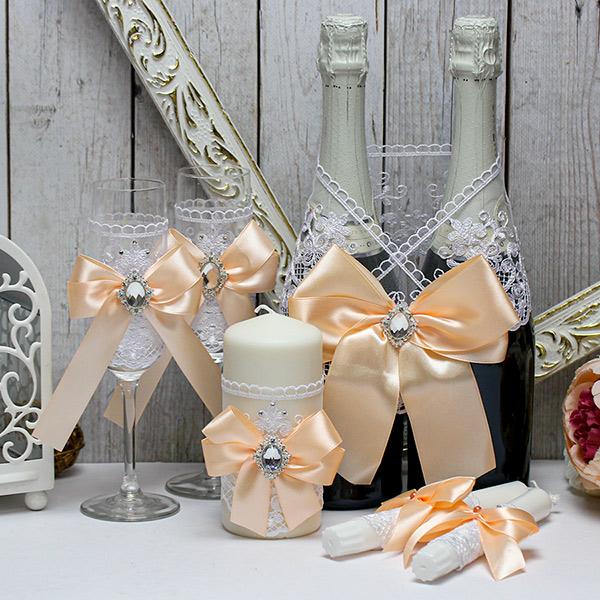 Комплект свадебных аксессуаров Винтажный шик (персиковый)