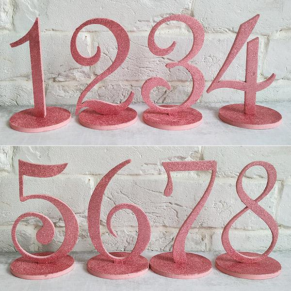 Набор деревянных номеров столов (1-8, розовый с блестками)